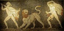 Lion et l'homme dans LION 220px-Pella_Lion_Hunt_Mosaic