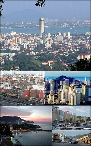 Clockwise from top: Skyline of George Town, skyscrapers at Gurney Drive, Balik Pulau, Queensbay Mall in Bayan Lepas, Tanjung Bungah suburb and George Town's UNESCO World Heritage Site.