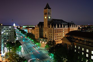Old Post Office Building (Washington, D.C.) - Looking southeast down Pennsylvania Avenue toward the Old Post Office Building and United States Capitol (2007)
