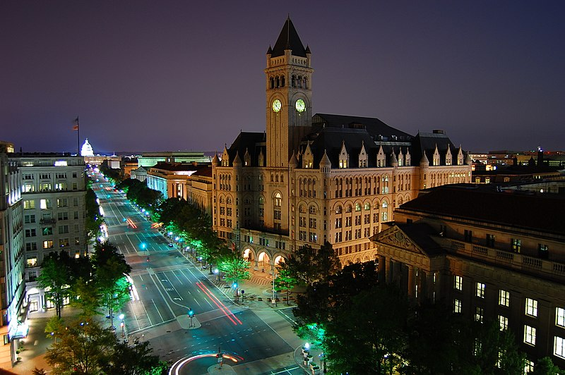 Pennsylvania Ave - Old Post Office to the Capitol at Night.jpg