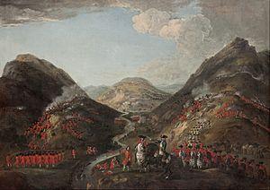 Peter Tillemans - A Batalha de Glenshiel 1719. Os números provavelmente incluem Lord George Murray, c 1700-1760;  Rob Roy MacGregor, 1671-1734;  e General Joseph Wightman, d.  1722 - Google Art Project.jpg