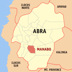 Map of Abra showing the location of Manabo