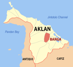 Map of Aklan showing the location of Banga
