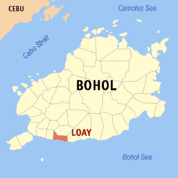 Map of Bohol with Loay highlighted