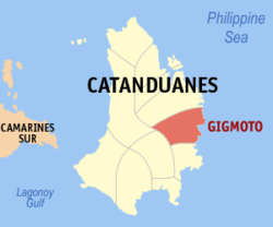 Map of Catanduanes with Gigmoto highlighted