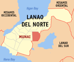 Map of Lanao del Norte with Munai highlighted