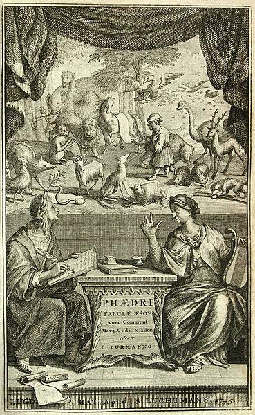 Incisione dal Phaedri, Aug. Liberti, Fabularum Aesopiarum libri V... curante Petro Burmanno, Leiden, 1745