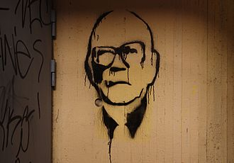 Centre Party (Finland) - Urho Kekkonen was the President of Finland from 1956 to 1982 and became a symbolic figure of a statesman in Finland. Graffiti representing Kekkonen in Pieksämäki, Finland.
