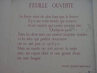 Pierre Reverdy - Feuille ouverte (wall poem in Leiden)