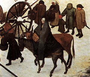 The Census at Bethlehem - Detail of Mary and Joseph
