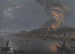 Pietro Antoniani Eruzione del Vesuvio vista da Torre del Greco