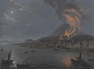 Pietro Antoniani - Eruption of Vesuvius seen from Torre del Greco