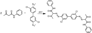 3,3'-Dichlorobenzidine - C.I. Pigment Yellow 12, an industrially significant diarylide pigment, is produced via the diazonium derivative of 3,3'-dichlorobenzidine.