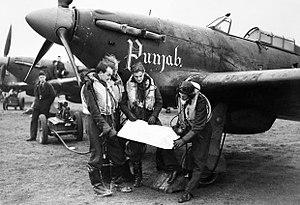 No. 56 Squadron RAF - Pilots and Hawker Hurricanes of No. 56 'Punjab' Squadron RAF at Duxford, 2 January 1942.