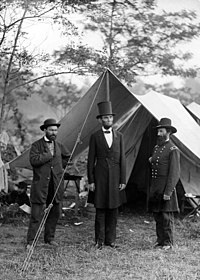 Lincoln, in stovepipe hat, with Allan Pinkerton and Gen. John McClernand at Antietam