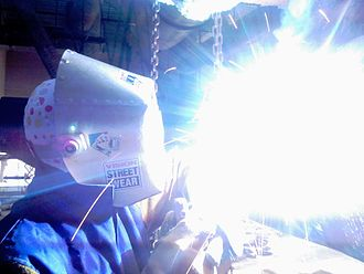 Ultraviolet - UV radiation is also produced by electric arcs. Arc welders must wear eye protection and cover their skin to prevent photokeratitis and serious sunburn.