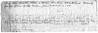 Piprahwa - Handwritten note by discoverer W.C. Péppe to Vincent Arthur Smith about the inscription, 1898