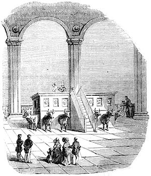 Nauvoo Temple - The baptismal font (French engraving of 1850).