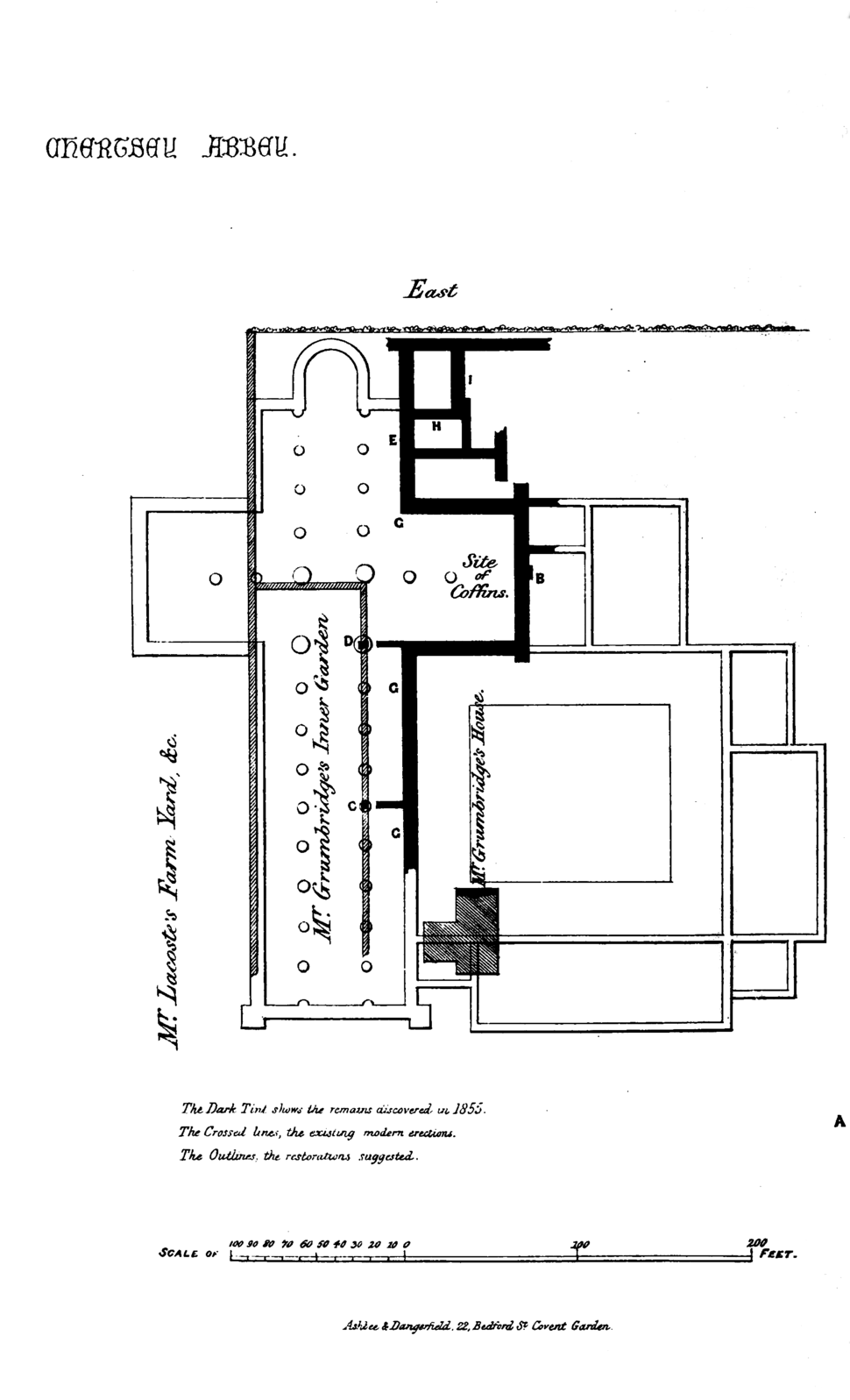Plan of Chertsey Abbey, showing walls, &c., excavated in 1855 (Surrey Archaeological Collections)