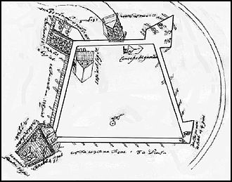 Spanish assault on French Florida - Piano del Fuerte de San Agustin de la Florida. A plan view of one of the earliest Spanish forts built at St. Augustine, with figures of the day and night sentinels, the places where the soldiers fight, cannon, etc.