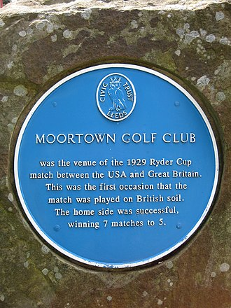 Moortown Golf Club - Civic plaque commemorating the first Ryder Cup to be held in Great Britain