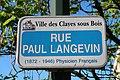 Plaque rue Paul-Langevin, Les Clayes-sous-Bois, Yvelines.jpg