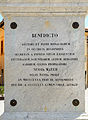 Plate on base of statue of San Benedict in Norcia2.jpg