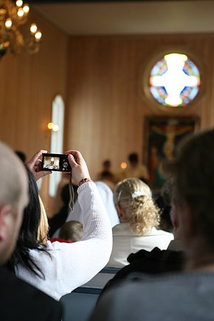 Point-and-shoot camera - Point-and-shoot camera using live preview for a picture in a church in Norway