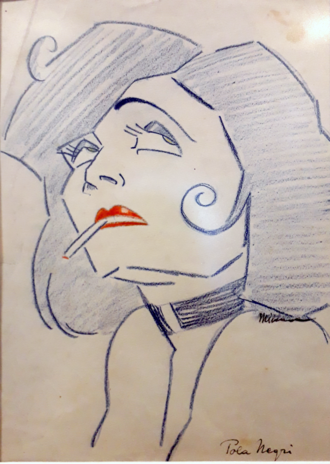 Drawing of Pola Negri by Milena Pavlovic-Barili, the most notable female artist of Serbian modernism. Pola Negri (M.P.Barili).png