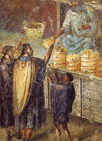 Food and dining in the Roman Empire - A bread stall, from a Pompeiian wall painting