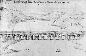 Sacavém - The Roman bridge of Sacavém, drawn by Francisco de Holanda (c.1571) in Da fábrica que falece a cidade de Lisboa