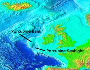 Porcupine Seabight - Northeast Atlantic bathymetry, with Porcupine Bank and Porcupine Seabight