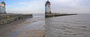 Tidal resonance - Tides at Portishead Dock in the Bristol Channel. An example of tidal resonance.