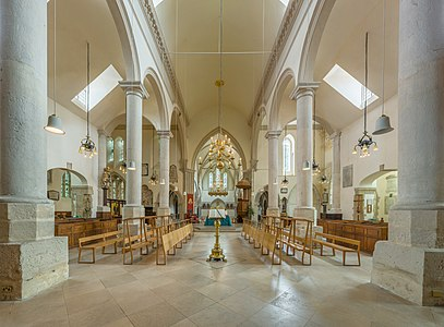 The choir of Portsmouth Cathedral looking towards the north east in Hampshire, England.