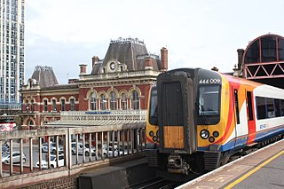Railway station in Portsmouth, Hampshire, England