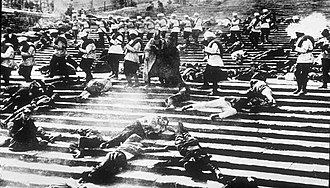 "Battleship Potemkin - A wide shot of the massacre on the ""Odessa Steps""."