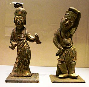 Southern Tang - Pottery Dancers. 943 CE. From tomb of Li Bian, founder of Southern Tang Dynasty