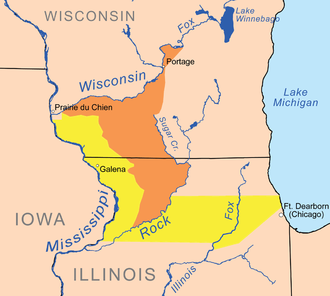 Winnebago War - Land ceded to the U.S. at Prairie du Chien in 1829 by the Three Fires Confederacy (in yellow) and the Ho-Chunk tribe (in orange).