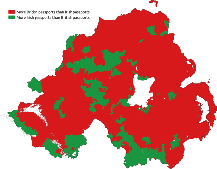 Map of most commonly held passport Predominant passport held northern ireland.png