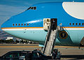 President Barack H. Obama, on the stairs, arrives at Moffett Federal Airfield, Calif., June 6, 2013 130606-Z-HW473-040.jpg