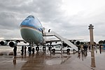 President Barack Obama boards Air Force One to return to Washington D.C. following a town hall meeting in Bristol, Va.jpg
