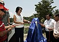 President Gloria Macapagal-Arroyo leads the unvieling of marker during the inauguaration of the Padada Bridge.jpg