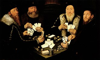 Primero - Four Gentlemen of High Rank Playing Primero, now attributed to the Master of the Countess of Warwick or his circle.