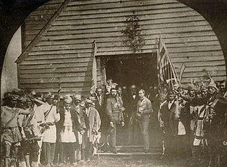 The Canadian Crown and Indigenous peoples of Canada - Prince Arthur with the Chiefs of the Six Nations at the Mohawk Chapel, Brantford, 1869
