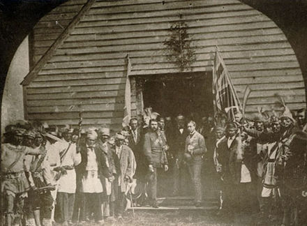 Prince Arthur met with the Chiefs of the Six Nations of the Grand River at the Mohawk Chapel in 1869. Prince Arthur Mohawk Chapel Canada 1869.jpg