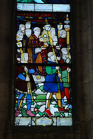 Church of Notre-Dame de Louviers - Stained glass in the south nave aisle depicting the procession of the drapers in the early sixteenth century