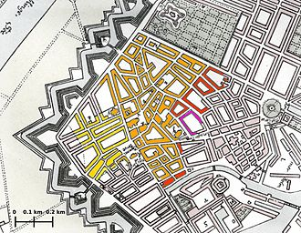 Copenhagen Fire of 1728 - Section of Joachim Hassing's map color-coded to illustrate the approximate progress of the fire, showing the origin of the fire (bright yellow) and the area affected by midnight on Wednesday (dark yellow), by midnight on Thursday (orange), by midnight on Friday (red) and by Saturday (purple).