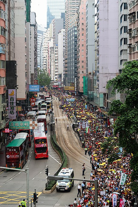 Thousands of protesters marched in Wan Chai against the proposed China extradition law on 28 April 2019. Protest against proposed extradition law view from Wan Chai 20190428.jpg