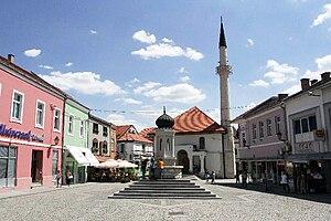 A public fountain of Tuzla in summer 2007.