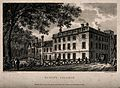 Queens' College, Cambridge; from the river. Line engraving by E Wellcome V0014158.jpg